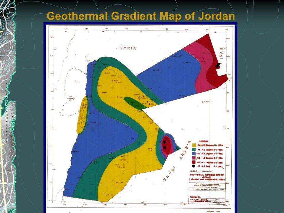 Geothermal Gradient Map of Jordan