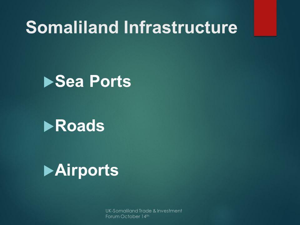 Sea Port  Primary Ports --- Berbera Port  Secondary Ports--- Saylac, Lughaya, Lasqoray, Maydh UK-Somaliland Trade & Investment Forum October 14 th