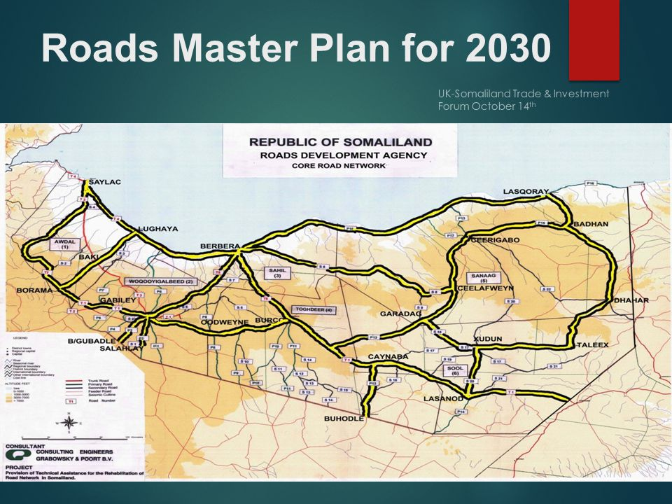 Roads Master Plan for 2030 UK-Somaliland Trade & Investment Forum October 14 th