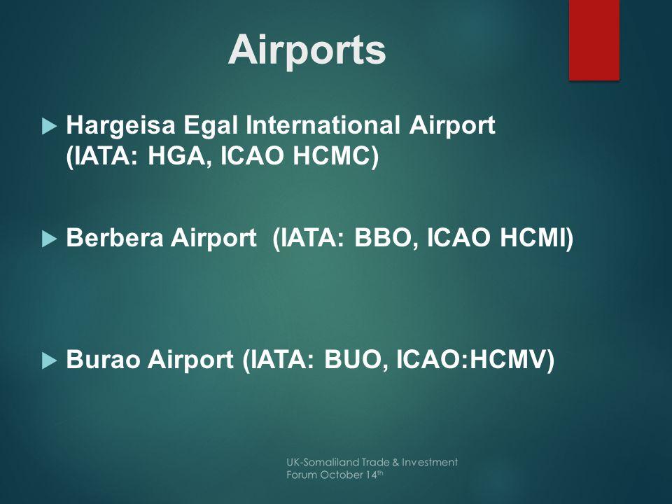  Hargeisa Egal International Airport (IATA: HGA, ICAO HCMC)  Berbera Airport (IATA: BBO, ICAO HCMI)  Burao Airport (IATA: BUO, ICAO:HCMV)