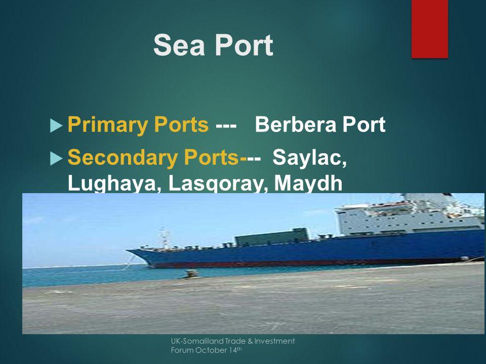 Berbera Port  Source: Berbera Port Authority UK-Somaliland Trade & Investment Forum October 14 th