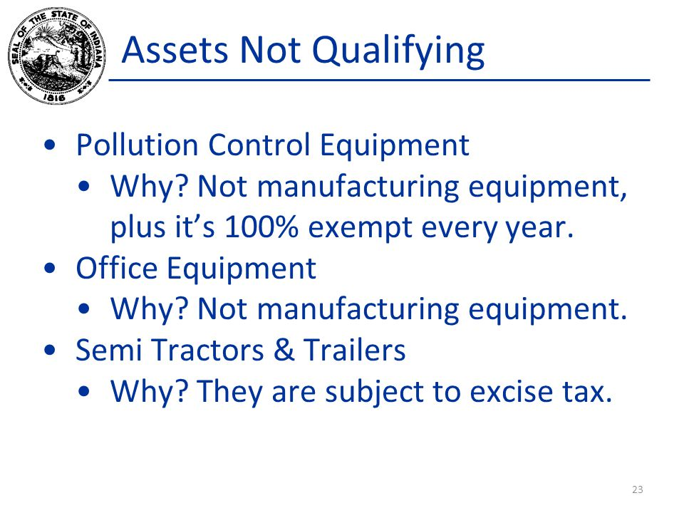 Assets Not Qualifying Pollution Control Equipment Why.