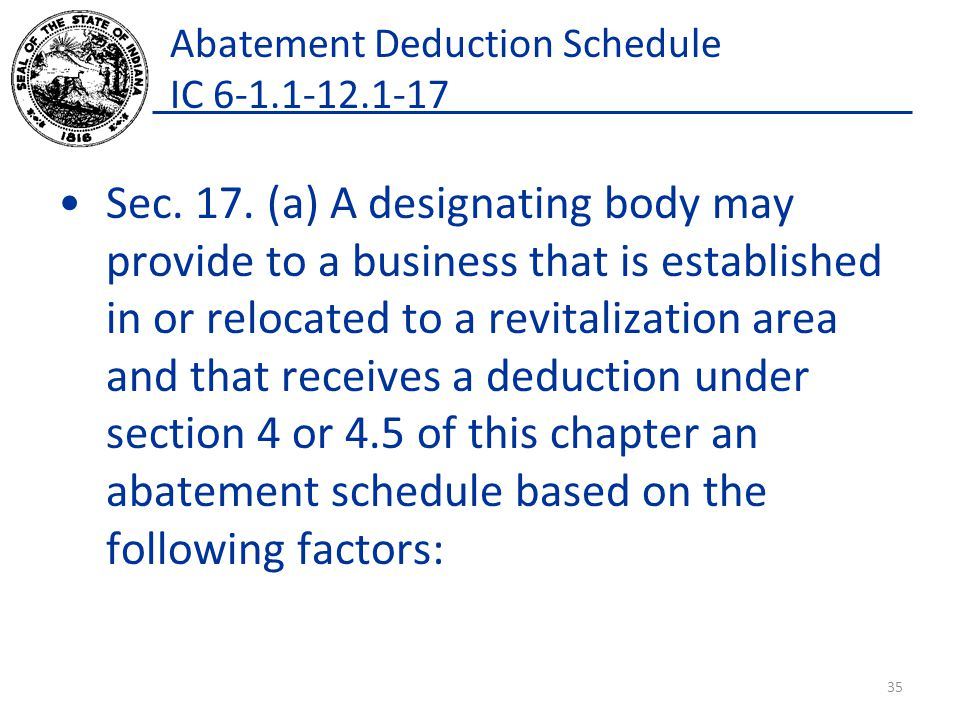 Abatement Deduction Schedule IC 6-1.1-12.1-17 Sec. 17. (a) A designating body may provide to a business that is established in or relocated to a revit