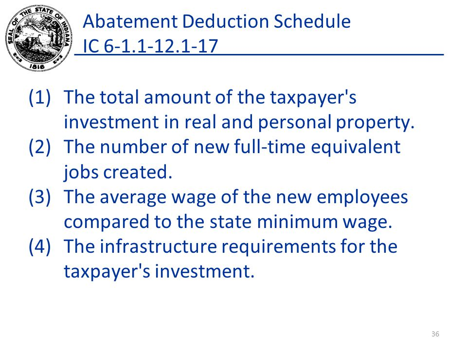 Abatement Deduction Schedule IC 6-1.1-12.1-17 (1)The total amount of the taxpayer s investment in real and personal property.