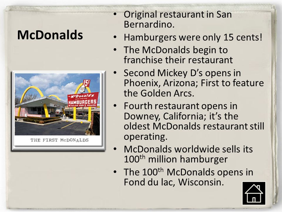 McDonalds Original restaurant in San Bernardino.Hamburgers were only 15 cents.