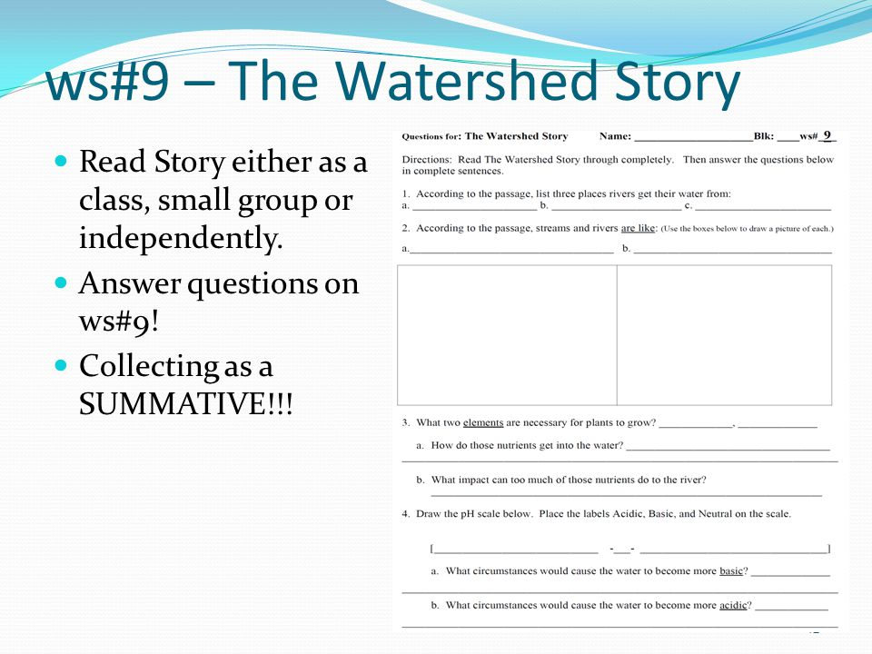 ws#9 – The Watershed Story Read Story either as a class, small group or independently.