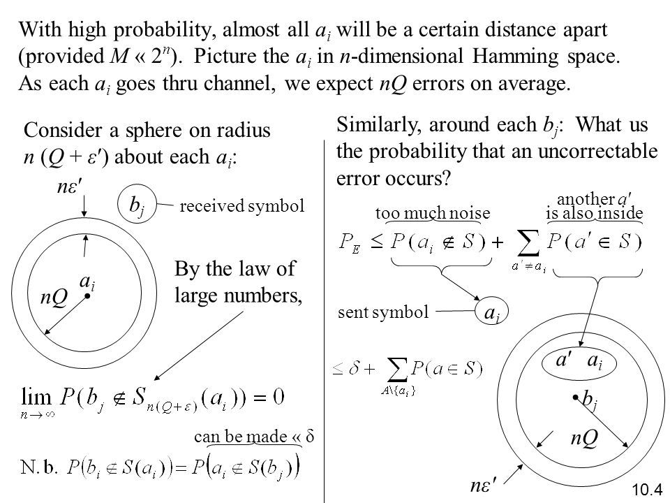 With high probability, almost all a i will be a certain distance apart (provided M « 2 n ).