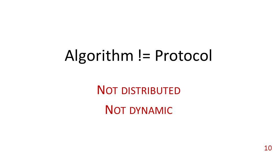 Algorithm != Protocol N OT DISTRIBUTED N OT DYNAMIC 10