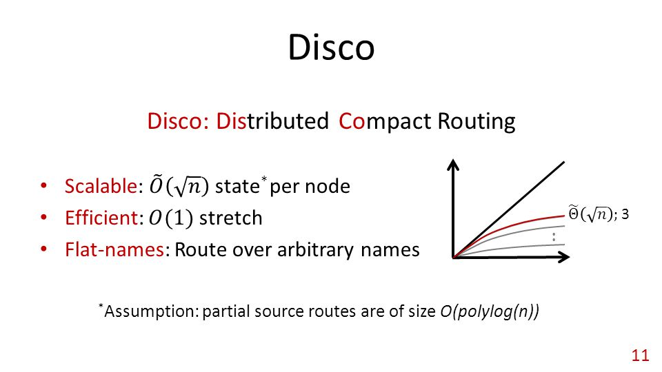 Disco 11 * Assumption: partial source routes are of size O(polylog(n))..