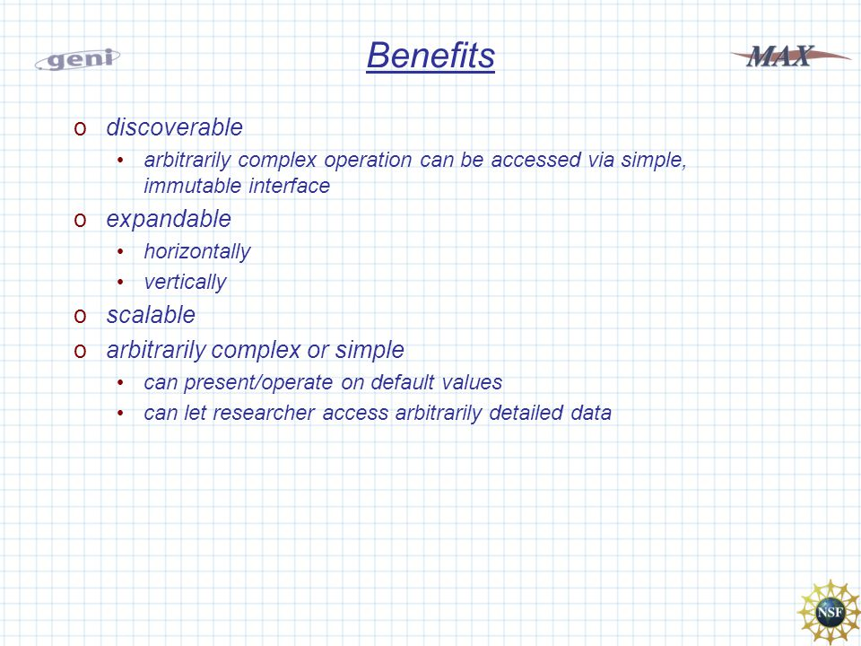 Benefits odiscoverable arbitrarily complex operation can be accessed via simple, immutable interface oexpandable horizontally vertically oscalable oarbitrarily complex or simple can present/operate on default values can let researcher access arbitrarily detailed data