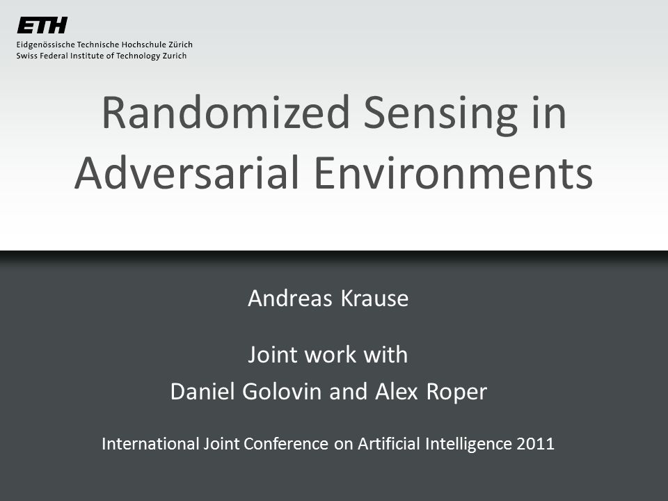 Randomized sensing Define 12 Thus, can minimize over q instead of over p.