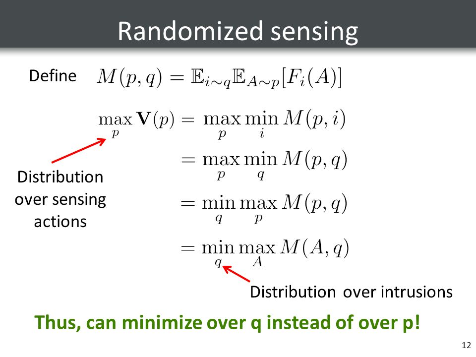 Randomized sensing Define 12 Thus, can minimize over q instead of over p.