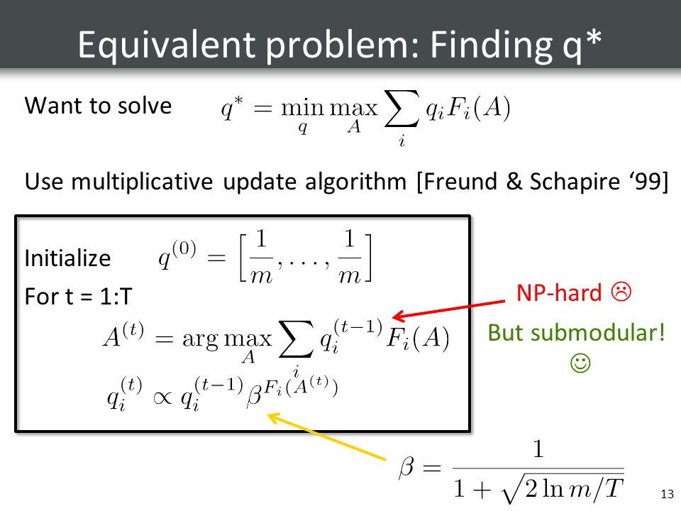 Equivalent problem: Finding q* Want to solve Use multiplicative update algorithm [Freund & Schapire '99] Initialize For t = 1:T 13 NP-hard  But submodular!