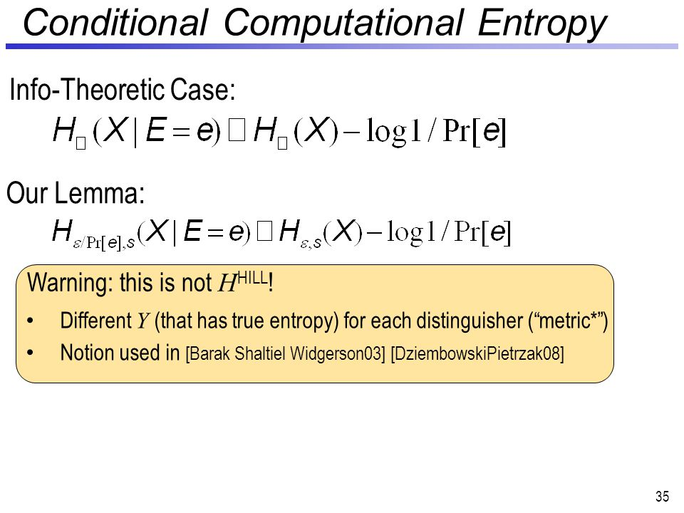 Conditional Computational Entropy 35 Our Lemma: Info-Theoretic Case: Warning: this is not H HILL .