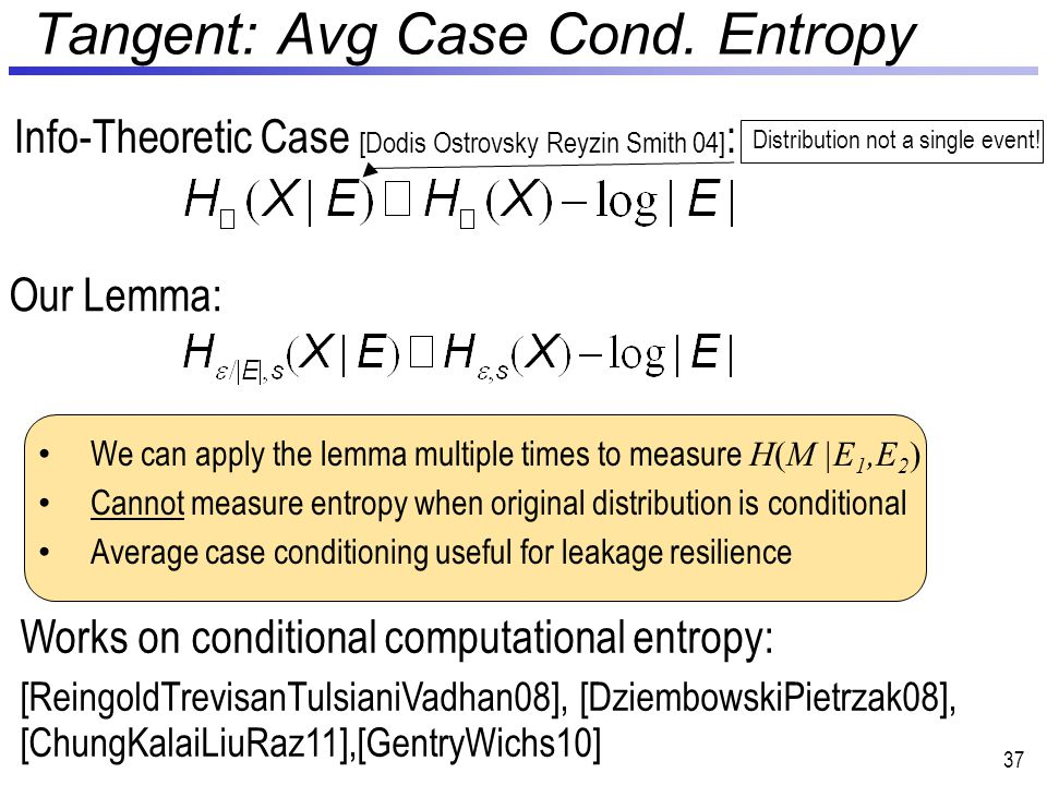 Tangent: Avg Case Cond. Entropy 37 Our Lemma: Info-Theoretic Case [Dodis Ostrovsky Reyzin Smith 04] : We can apply the lemma multiple times to measure