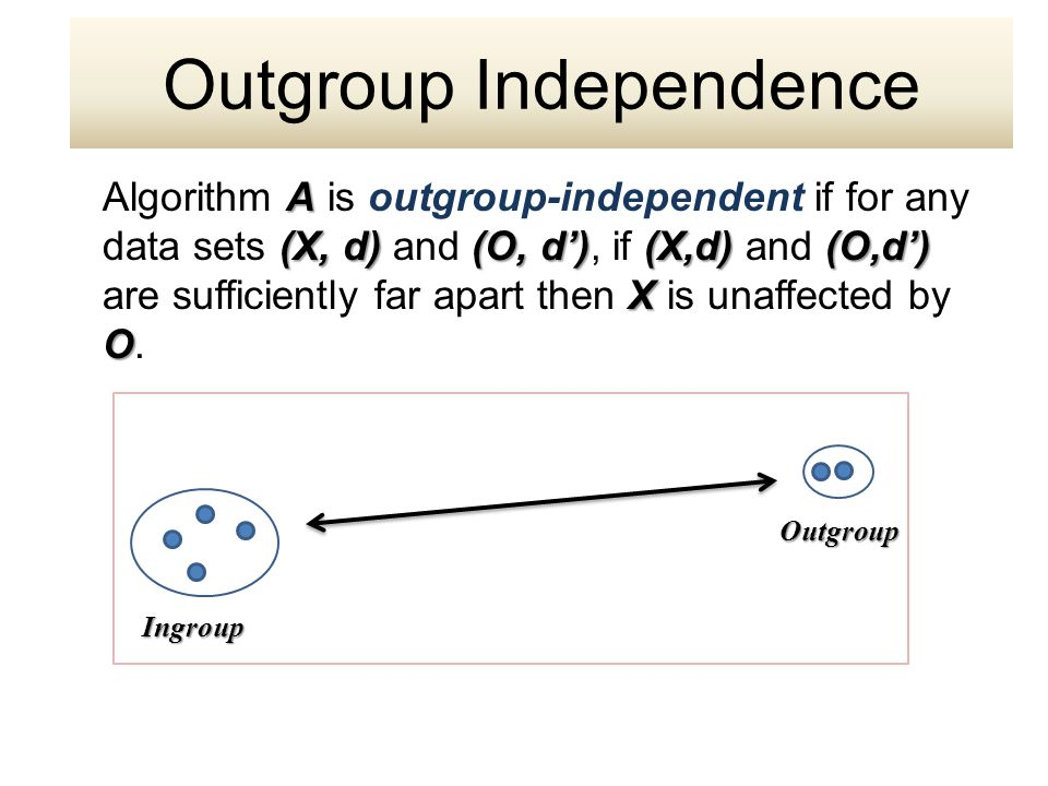 Ingroup A (X, d) (O, d')(X,d) (O,d') X O Algorithm A is outgroup-independent if for any data sets (X, d) and (O, d'), if (X,d) and (O,d') are sufficiently far apart then X is unaffected by O.