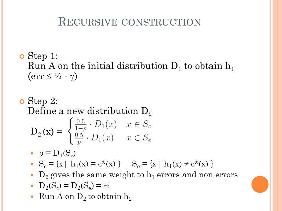 R ECURSIVE CONSTRUCTION Step 1: Run A on the initial distribution D 1 to obtain h 1 (err  ½ -  ) Step 2: Define a new distribution D 2 D 2 (x) = p =