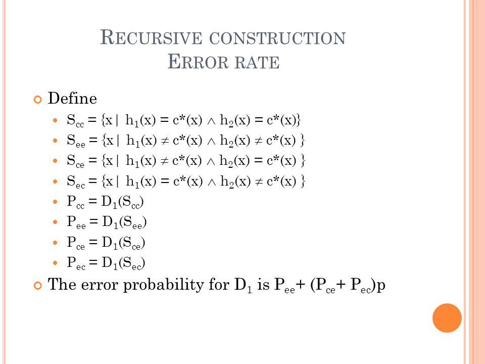 R ECURSIVE CONSTRUCTION E RROR RATE Define S cc = {x| h 1 (x) = c*(x)  h 2 (x) = c*(x)} S ee = {x| h 1 (x)  c*(x)  h 2 (x)  c*(x) } S ce = {x| h 1