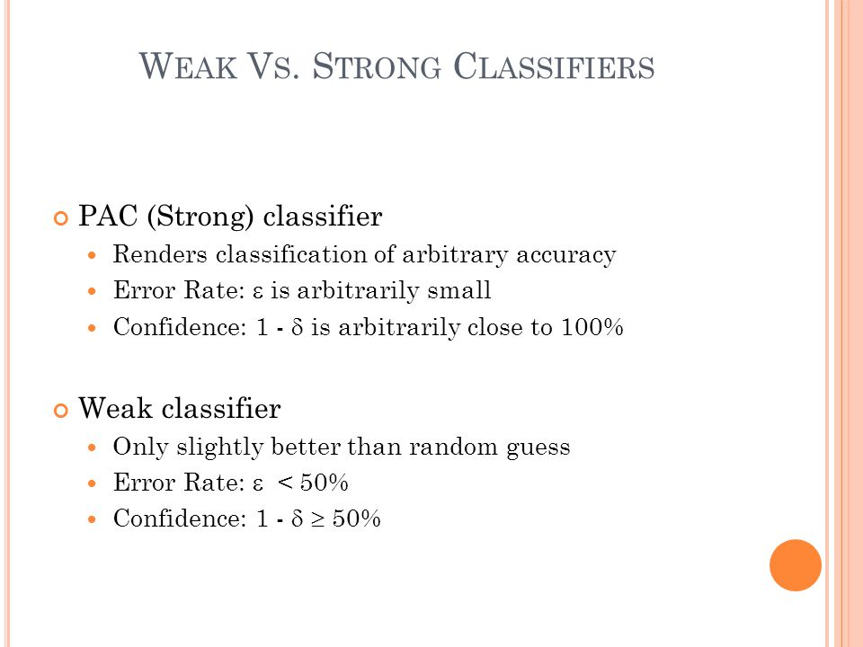 W EAK V S. S TRONG C LASSIFIERS PAC (Strong) classifier Renders classification of arbitrary accuracy Error Rate:  is arbitrarily small Confidence: 1