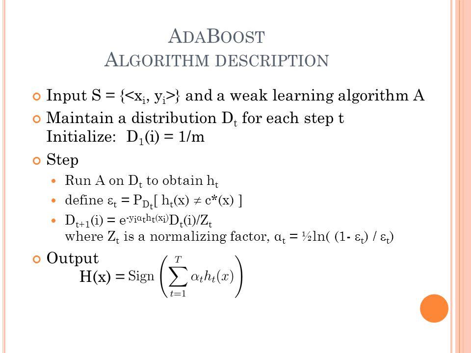 A DA B OOST A LGORITHM DESCRIPTION Input S = { } and a weak learning algorithm A Maintain a distribution D t for each step t Initialize: D 1 (i) = 1/m