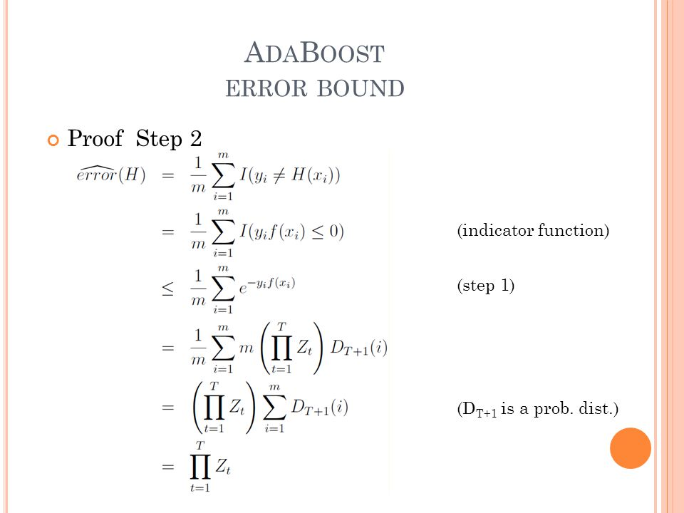 A DA B OOST ERROR BOUND Proof Step 2 (indicator function) (step 1) (D T+1 is a prob. dist.)