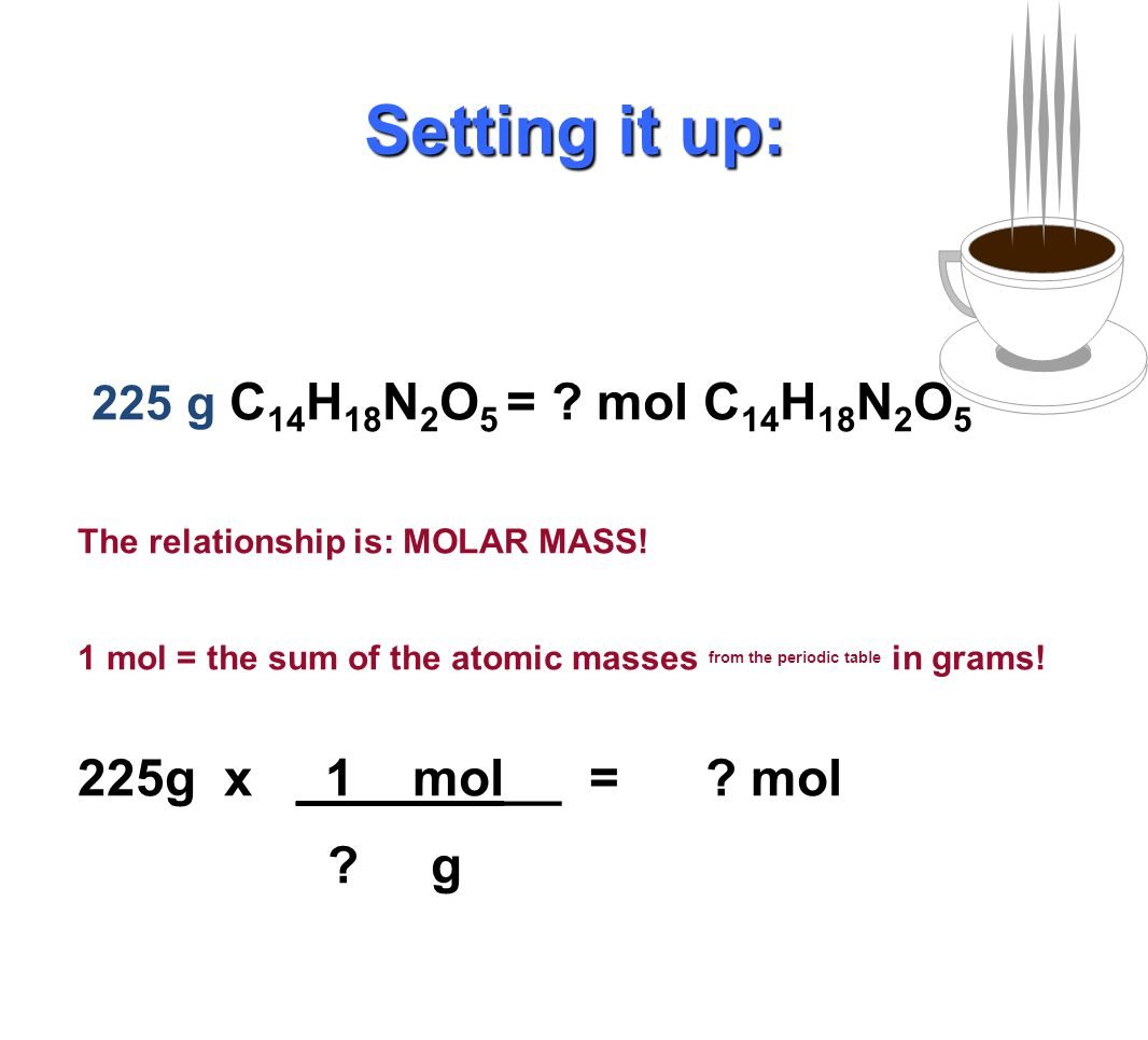 225 g C 14 H 18 N 2 O 5 = ? mol C 14 H 18 N 2 O 5 225g x _?__mol__ = mol ? g Setting it up: Do you know a relationship between moles and grams for C 1