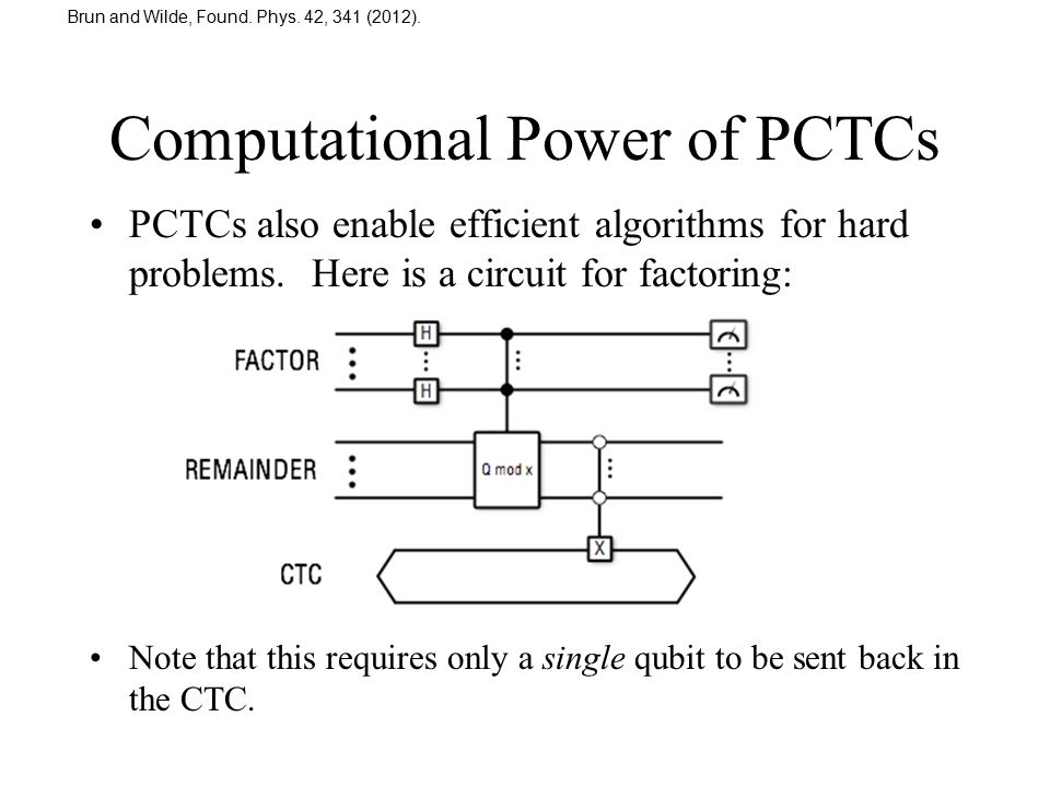 Computational Power of PCTCs PCTCs also enable efficient algorithms for hard problems. Here is a circuit for factoring: Note that this requires only a