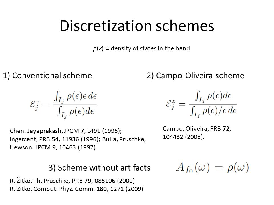 2) Campo-Oliveira scheme1) Conventional scheme Discretization schemes Campo, Oliveira, PRB 72, 104432 (2005).