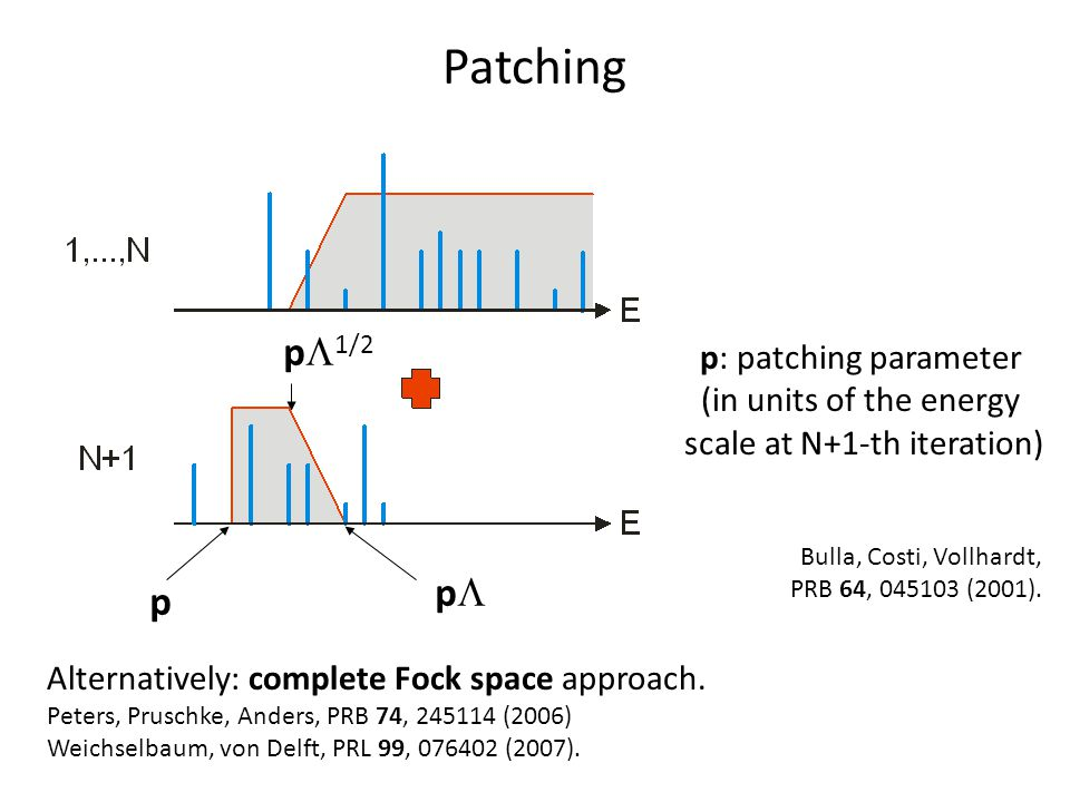 Patching p p  1/2 pp p: patching parameter (in units of the energy scale at N+1-th iteration) Bulla, Costi, Vollhardt, PRB 64, 045103 (2001).