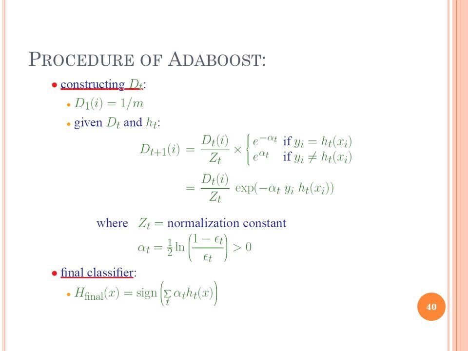 P ROCEDURE OF A DABOOST : 40