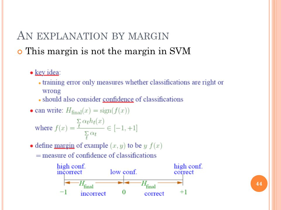 A N EXPLANATION BY MARGIN This margin is not the margin in SVM 44