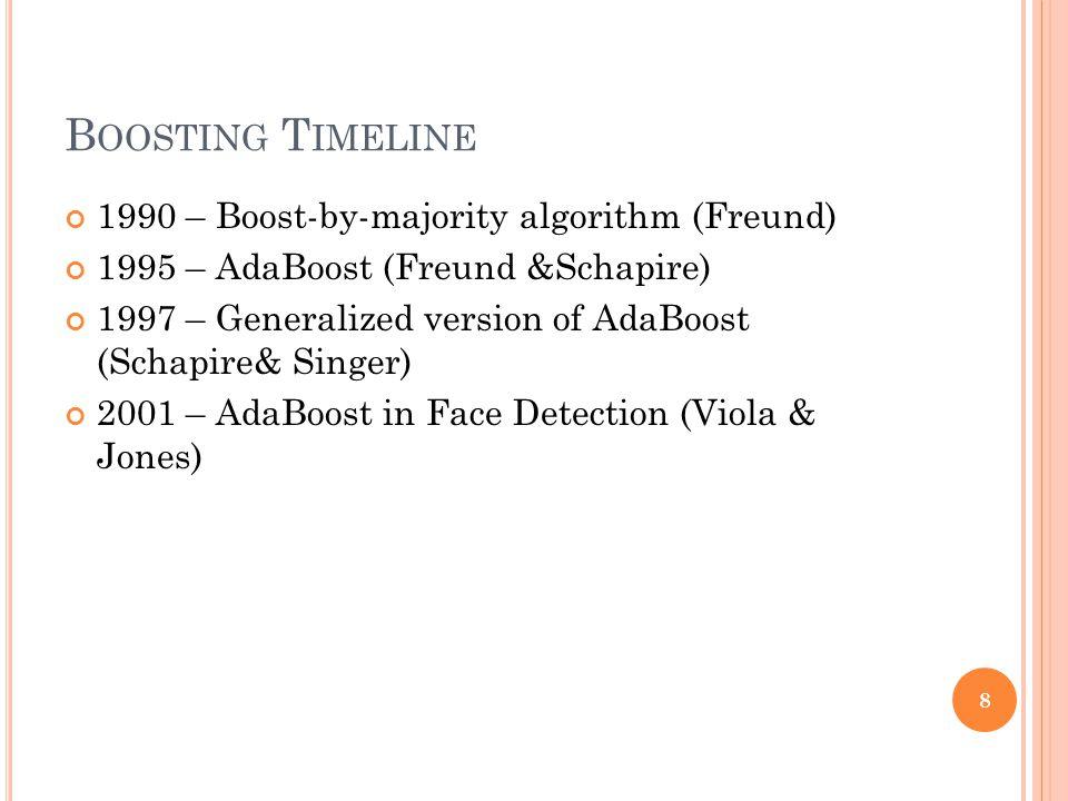 B OOSTING T IMELINE 1990 – Boost-by-majority algorithm (Freund) 1995 – AdaBoost (Freund &Schapire) 1997 – Generalized version of AdaBoost (Schapire& Singer) 2001 – AdaBoost in Face Detection (Viola & Jones) 8
