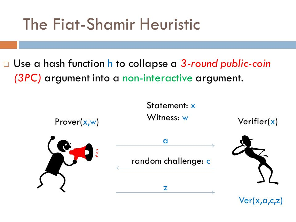The Fiat-Shamir Heuristic  Use a hash function h to collapse a 3-round public-coin (3PC) argument into a non-interactive argument.