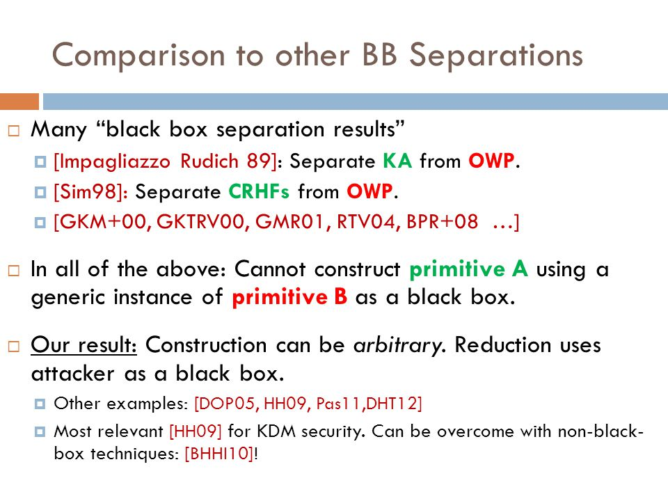 Comparison to other BB Separations  Many black box separation results  [Impagliazzo Rudich 89]: Separate KA from OWP.