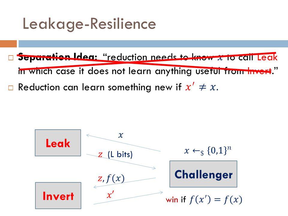 Leakage-Resilience Leak Invert Challenger