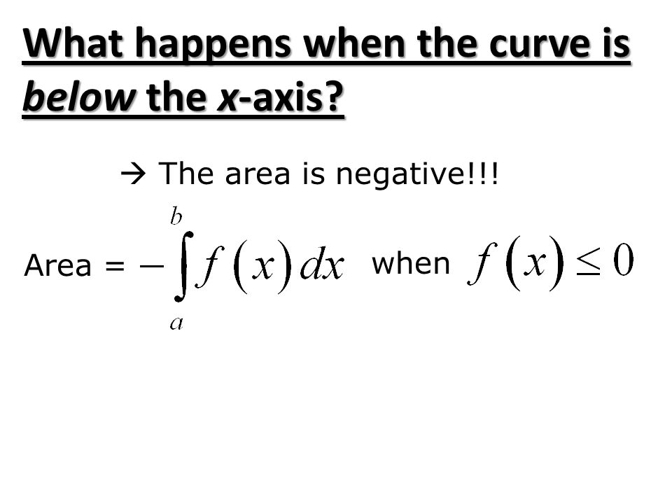 What happens when the curve is below the x-axis?  The area is negative!!! Area = when
