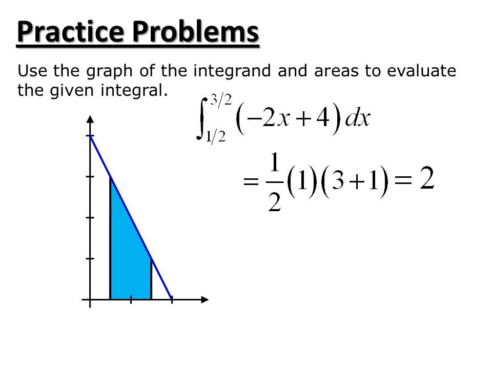 Practice Problems Use the graph of the integrand and areas to evaluate the given integral.
