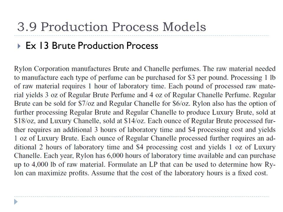 3.9 Production Process Models  Ex 13 Brute Production Process