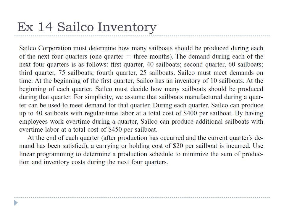 Ex 14 Sailco Inventory