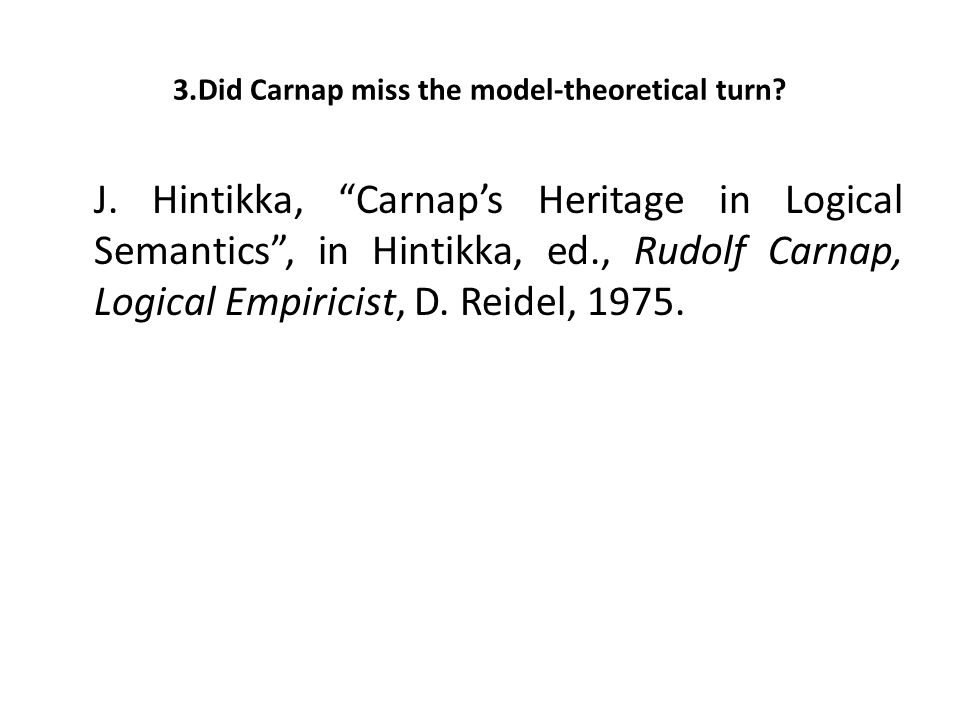 "J. Hintikka, ""Carnap's Heritage in Logical Semantics"", in Hintikka, ed., Rudolf Carnap, Logical Empiricist, D. Reidel, 1975."