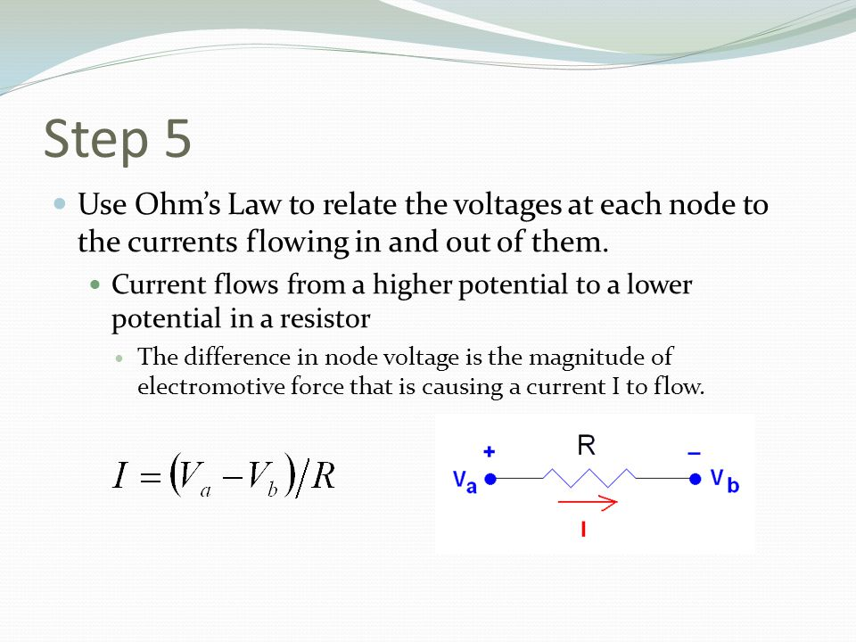 Step 5 Use Ohm's Law to relate the voltages at each node to the currents flowing in and out of them.