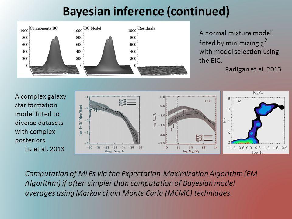 Computation of MLEs via the Expectation-Maximization Algorithm (EM Algorithm) if often simpler than computation of Bayesian model averages using Markov chain Monte Carlo (MCMC) techniques.