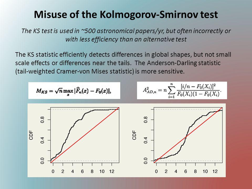 Kolmogorov-Smirnov test (continued) The 1-sample KS test (data vs.