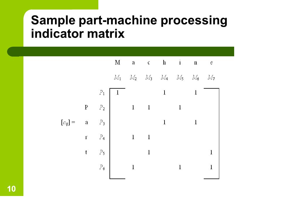 Sample part-machine processing indicator matrix 10