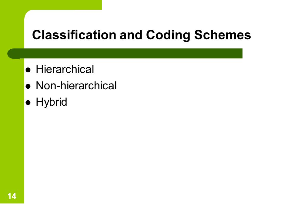 Classification and Coding Schemes Hierarchical Non-hierarchical Hybrid 14