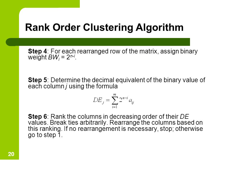 Rank Order Clustering Algorithm Step 4: For each rearranged row of the matrix, assign binary weight BW i = 2 n-i. Step 5: Determine the decimal equiva