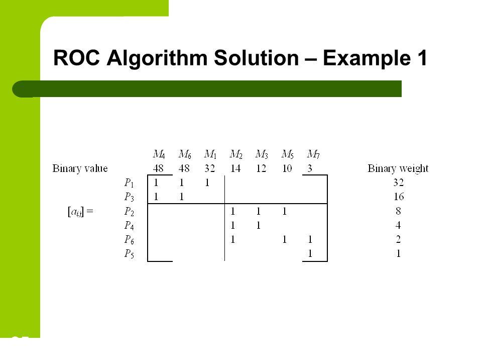 ROC Algorithm Solution – Example 1 25