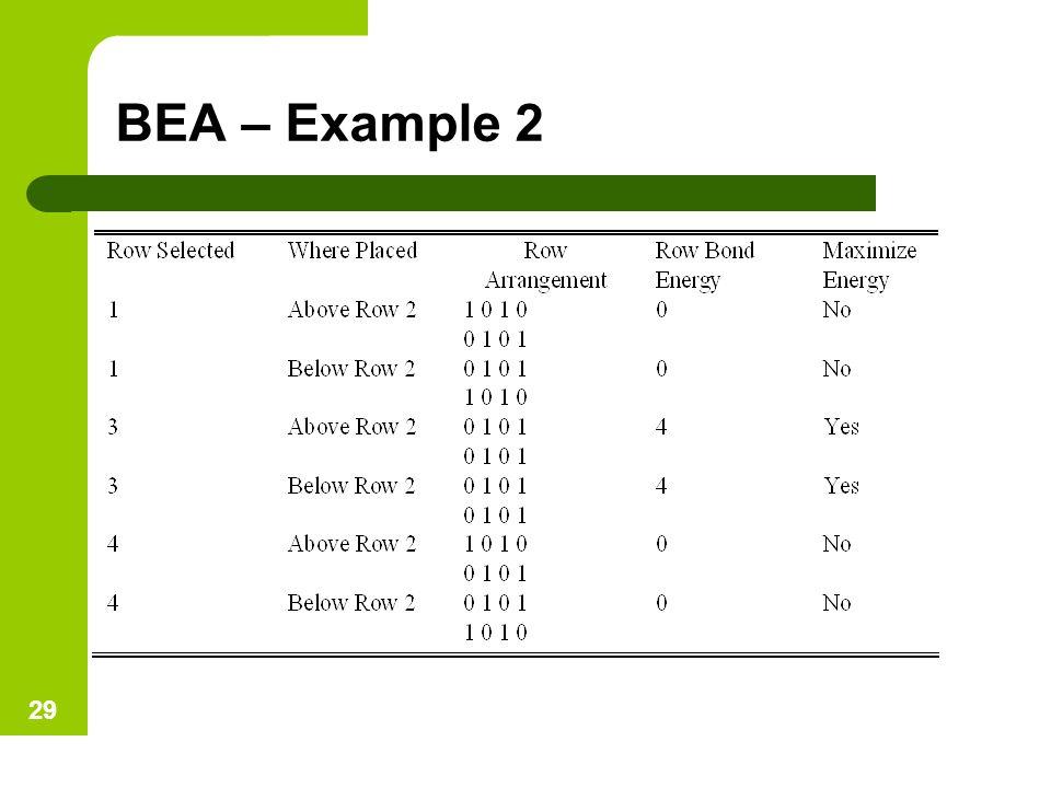 BEA – Example 2 29