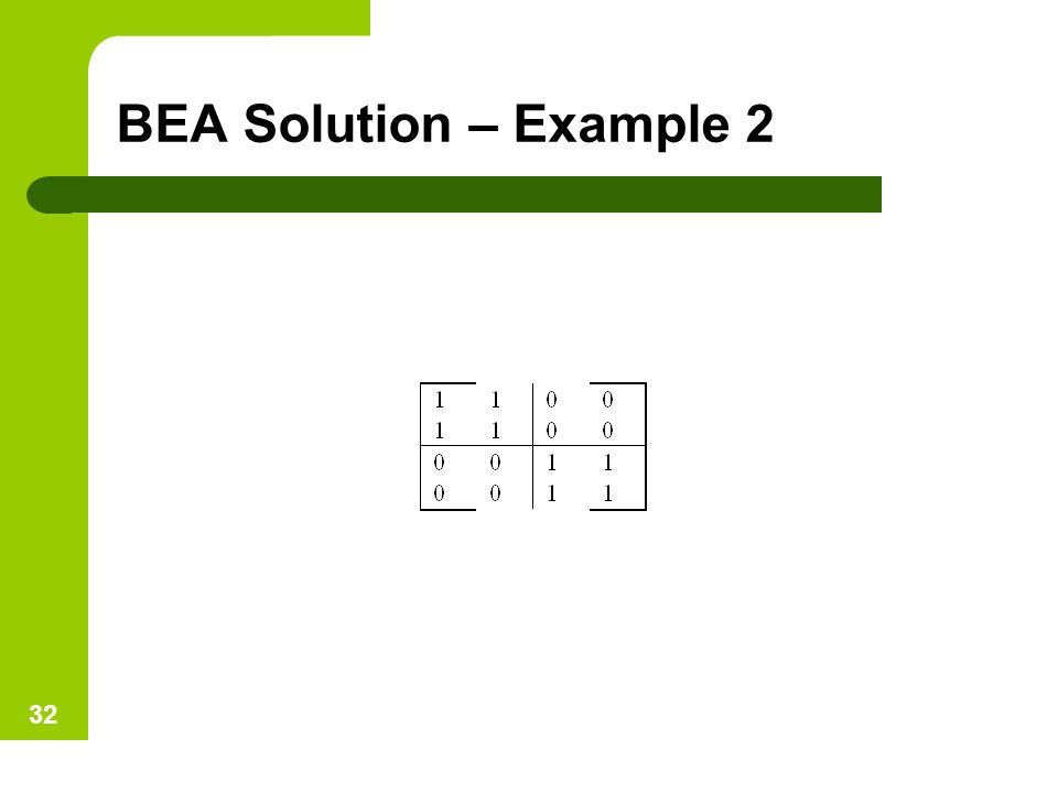 BEA Solution – Example 2 32