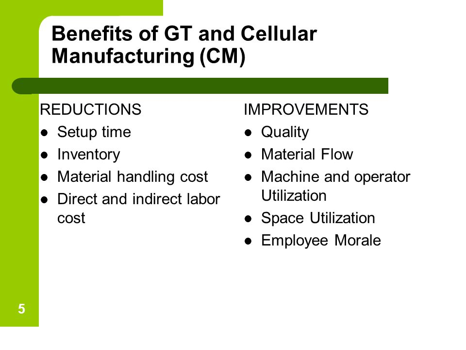 Benefits of GT and Cellular Manufacturing (CM) REDUCTIONS Setup time Inventory Material handling cost Direct and indirect labor cost IMPROVEMENTS Qual